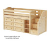 Maxtrix GREAT Storage Low Loft Bed with Stairs Twin Size Chestnut | Maxtrix Furniture | MX-GREAT1-CX