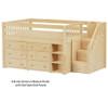 Maxtrix GREAT Storage Low Loft Bed with Stairs Twin Size Chestnut | Maxtrix Furniture | MX-GREAT1-CX
