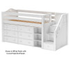 Maxtrix GREAT Storage Low Loft Bed with Stairs Twin Size White | Maxtrix Furniture | MX-GREAT1-WX