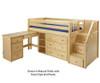 Maxtrix GREAT Storage Low Loft Bed with Stairs & Desk Twin Size Chestnut | Maxtrix Furniture | MX-GREAT2L-CX