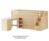 Maxtrix GREAT Storage Low Loft Bed with Stairs & Desk Twin Size Natural | 26329 | MX-GREAT2L-NX