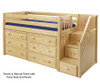 Maxtrix GREAT Storage Low Loft Bed with Stairs Twin Size Chestnut 1 | Maxtrix Furniture | MX-GREAT3-CX