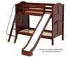 Maxtrix HAPPY Medium Bunk Bed w/ Slide Twin Size Chestnut | 26338 | MX-HAPPY-CX
