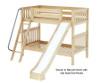 Maxtrix HAPPY Medium Bunk Bed w/ Slide Twin Size Natural | 26339 | MX-HAPPY-NX