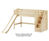 Maxtrix HERO Mid Loft Bed with Stairs and Slide Twin Size Chestnut | Maxtrix Furniture | MX-HERO-CX