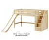 Maxtrix HERO Mid Loft Bed with Stairs and Slide Twin Size Natural   26342   MX-HERO-NX