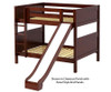 Maxtrix HIPHIP Medium Bunk Bed w/ Slide Full Size Chestnut | 26349 | MX-HIPHIP-CX