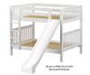 Maxtrix HIPHIP Medium Bunk Bed w/ Slide Full Size White | 26351 | MX-HIPHIP-WX