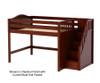 Maxtrix HIT Mid Loft Bed with Stairs Full Size Chestnut | Maxtrix Furniture | MX-HIT-CX
