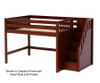 Maxtrix HIT Mid Loft Bed with Stairs Full Size Chestnut | 26352 | MX-HIT-CX