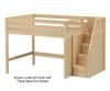 Maxtrix HIT Mid Loft Bed with Stairs Full Size Natural | Maxtrix Furniture | MX-HIT-NX