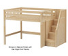 Maxtrix HIT Mid Loft Bed with Stairs Full Size Natural | 26353 | MX-HIT-NX