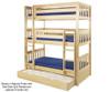 Maxtrix HOLY Triple Bunk Bed Twin Size Natural | Maxtrix Furniture | MX-HOLY-NX