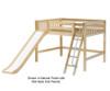 Maxtrix HONEY Mid Loft Bed with Slide Full Size Natural | 26359 | MX-HONEY-NX