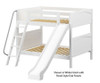 Maxtrix HOORAY Medium Bunk Bed w/ Slide Full Size White | 26362 | MX-HOORAY-WX