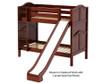 Maxtrix JOLLY Medium Bunk Bed w/ Slide Twin Size Chestnut   Maxtrix Furniture   MX-JOLLY-CX
