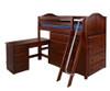 Maxtrix KATCHING Mid Loft Bed w/ Dressers and Desk Twin Size Chestnut | Maxtrix Furniture | MX-KATCHING1L-CX