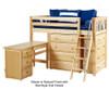 Maxtrix KATCHING Mid Loft Bed w/ Dressers and Desk Twin Size Chestnut | 26384 | MX-KATCHING1L-CX