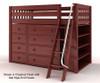 Maxtrix KATCHING Mid Loft Bed w/ Dressers & Bookcase Twin Size Chestnut   26386   MX-KATCHING2-CX
