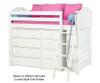 Maxtrix KATCHING Mid Loft Bed w/ Dressers & Bookcase Twin Size White | Maxtrix Furniture | MX-KATCHING2-WX