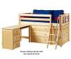 Maxtrix KICKS Low Loft Bed w/ Dressers & Desk Twin Size Natural | 26397 | MX-KICKS1L-NX