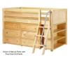 Maxtrix KICKS Low Loft Bed w/ Dresser & Bookcase Twin Size Natural | 26400 | MX-KICKS2-NX