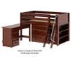 Maxtrix KICKS Low Loft Bed w/ Storage & Desk Twin Size Chestnut   26402   MX-KICKS3L-CX