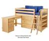 Maxtrix KICKS Low Loft Bed w/ Storage & Desk Twin Size Natural | 26403 | MX-KICKS3L-NX