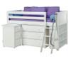 Maxtrix KICKS Low Loft Bed w/ Storage & Desk Twin Size White | 26404 | MX-KICKS3L-WX