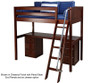 Maxtrix KNOCKOUT High Loft Bed with Desk Twin Size Chestnut | 26414 | MX-KNOCKOUT1-CX