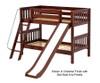 Maxtrix LAUGH Low Bunk Bed w/ Slide Twin Size Chestnut | 26428 | MX-LAUGH-CX