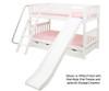Maxtrix LAUGH Low Bunk Bed w/ Slide Twin Size White   26430   MX-LAUGH-WX
