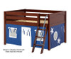 Maxtrix MANSION Low Loft Bed with Curtains Full Size Chestnut 1 | 26440 | MX-MANSION22-CX