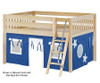 Maxtrix MANSION Low Loft Bed with Curtains Full Size Natural 1   26441   MX-MANSION22-NX