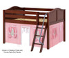 Maxtrix MANSION Low Loft Bed with Curtains Full Size Chestnut 2 | Maxtrix Furniture | MX-MANSION23-CX