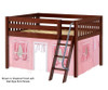 Maxtrix MANSION Low Loft Bed with Curtains Full Size Chestnut 2 | 26442 | MX-MANSION23-CX