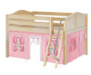 Maxtrix MANSION Low Loft Bed with Curtains Full Size Natural 2 | Maxtrix Furniture | MX-MANSION23-NX