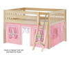Maxtrix MANSION Low Loft Bed with Curtains Full Size Natural 2 | 26443 | MX-MANSION23-NX