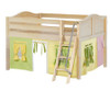 Maxtrix MANSION Low Loft Bed with Curtains Full Size Natural 3 | Maxtrix Furniture | MX-MANSION24-NX