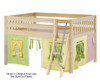 Maxtrix MANSION Low Loft Bed with Curtains Full Size Natural 3 | 26445 | MX-MANSION24-NX