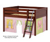 Maxtrix MANSION Low Loft Bed with Curtains Full Size Chestnut 4 | 26446 | MX-MANSION25-CX