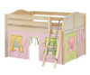 Maxtrix MANSION Low Loft Bed with Curtains Full Size Natural 4   Maxtrix Furniture   MX-MANSION25-NX