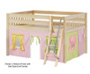 Maxtrix MANSION Low Loft Bed with Curtains Full Size Natural 4   26447   MX-MANSION25-NX
