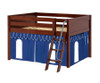 Maxtrix MANSION Low Loft Bed with Curtains Full Size Chestnut 5 | Maxtrix Furniture | MX-MANSION26-CX