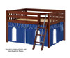 Maxtrix MANSION Low Loft Bed with Curtains Full Size Chestnut 5 | 26448 | MX-MANSION26-CX