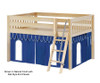 Maxtrix MANSION Low Loft Bed with Curtains Full Size Natural 5   26449   MX-MANSION26-NX