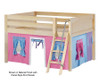 Maxtrix MANSION Low Loft Bed with Curtains Full Size Natural 7 | 26453 | MX-MANSION28-NX