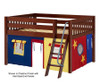 Maxtrix MANSION Low Loft Bed with Curtains Full Size Chestnut 8 | 26454 | MX-MANSION29-CX