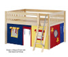 Maxtrix MANSION Low Loft Bed with Curtains Full Size Natural 8 | 26455 | MX-MANSION29-NX