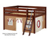 Maxtrix MANSION Low Loft Bed with Curtains Full Size Chestnut 9 | 26456 | MX-MANSION30-CX